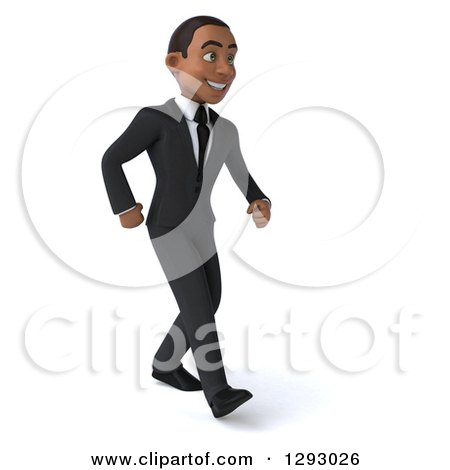 Clipart of a 3d Happy Young Black Businessman Smiling and Walking to the Right - Royalty Free Illustration by Julos