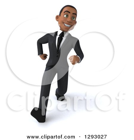 Clipart of a 3d Happy Young Black Businessman Smiling and Walking with Big Strides - Royalty Free Illustration by Julos