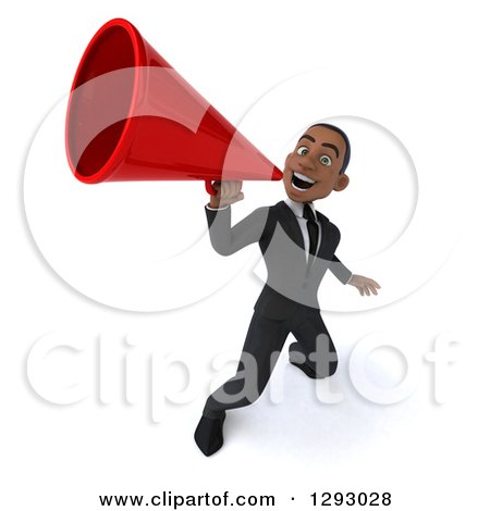 Clipart of a 3d Happy Young Black Businessman Announcing Upwards with a Megaphone - Royalty Free Illustration by Julos