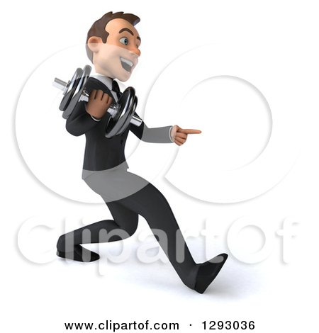 Clipart of a 3d Happy Young Brunette White Businessman Pointing and Speed Walking to the Right with a Dumbbell - Royalty Free Illustration by Julos
