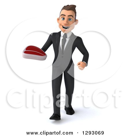 Clipart of a 3d Happy Young Brunette White Businessman Walking with a Beef Steak - Royalty Free Illustration by Julos