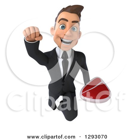 Clipart of a 3d Happy Young Brunette White Businessman Flying Forward with a Beef Steak - Royalty Free Illustration by Julos
