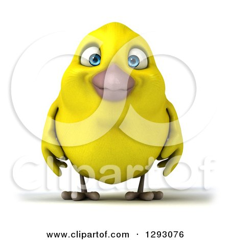Clipart of a 3d Happy Yellow Bird - Royalty Free Illustration by Julos