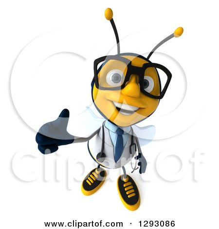 Clipart of a 3d Happy Bespectacled Bee Doctor Holding up a Thumb - Royalty Free Illustration by Julos