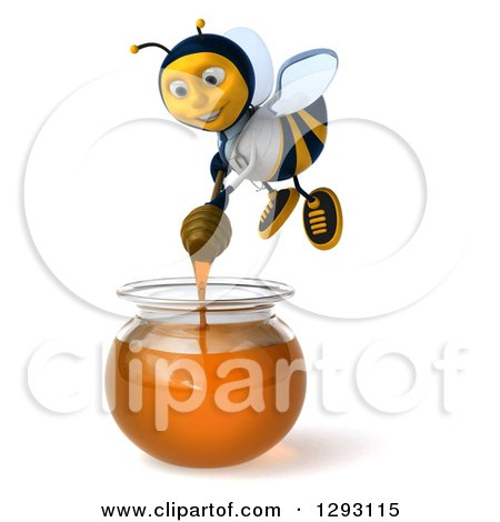 Clipart of a 3d Happy Bee Doctor Holding a Dipper over a Honey Jar - Royalty Free Illustration by Julos