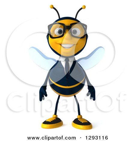 Clipart of a 3d Happy Bespectacled Bee Businessman - Royalty Free Illustration by Julos