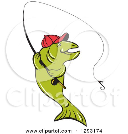 Clipart of a Happy Cartoon Trout Fish Fly Fishing - Royalty Free Vector Illustration by patrimonio