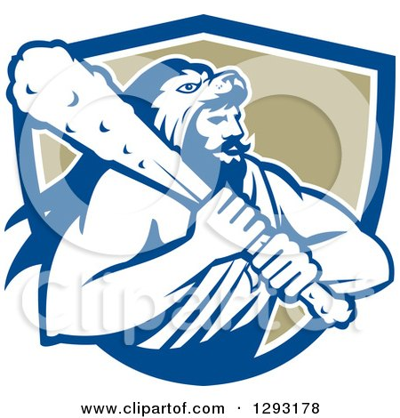 Clipart of a Retro Muscular Man, Hercules, Wearing a Lion Skin and Holding a Club in a Blue White and Tan Shield - Royalty Free Vector Illustration by patrimonio