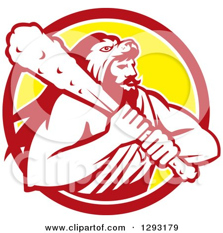 Clipart of a Retro Muscular Man, Hercules, Wearing a Lion Skin and Holding a Club in a Red White and Yellow Circle - Royalty Free Vector Illustration by patrimonio