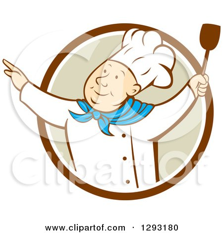 Clipart of a Retro Cartoon Happy White Male Chef Dancing with a Spatula in a Brown White and Tan Circle - Royalty Free Vector Illustration by patrimonio