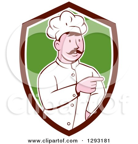 Clipart of a Retro Cartoon White Male Head Chef with a Mustache, Pointing in a Brown White and Green Shield - Royalty Free Vector Illustration by patrimonio