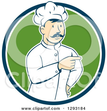 Clipart of a Retro Cartoon White Male Head Chef with a Mustache, Pointing in a Blue White and Green Circle - Royalty Free Vector Illustration by patrimonio