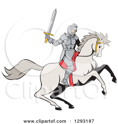 Clipart of a Cartoon Horseback Knight Wielding a Sword - Royalty Free Vector Illustration by patrimonio
