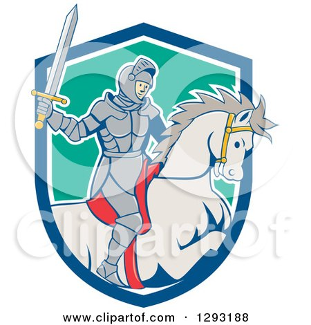 Clipart of a Cartoon Horseback Knight Wielding a Sword and Emerging from a Blue White and Turquoise Shield - Royalty Free Vector Illustration by patrimonio