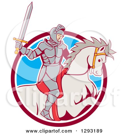 Clipart of a Cartoon Horseback Knight Wielding a Sword and Emerging from a Maroon White and Blue Circle - Royalty Free Vector Illustration by patrimonio