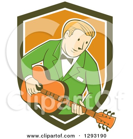 Clipart of a Retro Cartoon White Male Musician Playing a Guitar and Emerging from a Green White and Orange Shield - Royalty Free Vector Illustration by patrimonio