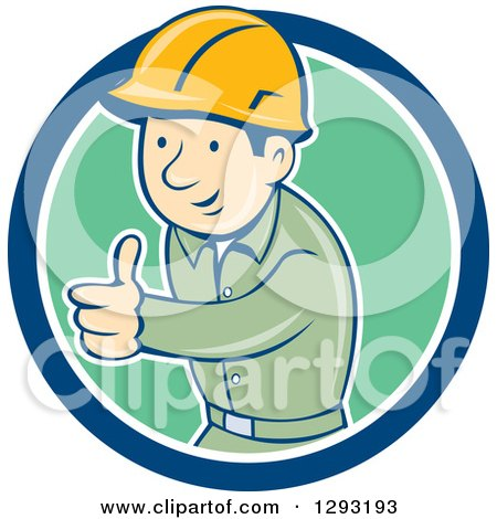Clipart of a Retro Cartoon White Male Construction Worker Foreman Giving a Thumb up in a Blue White and Green Circle - Royalty Free Vector Illustration by patrimonio