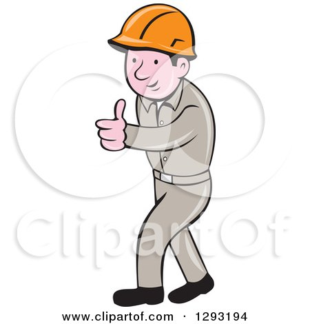 Clipart of a Retro Cartoon White Male Construction Worker Foreman Giving a Thumb up - Royalty Free Vector Illustration by patrimonio