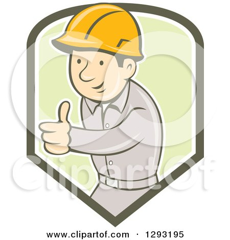 Clipart of a Retro Cartoon White Male Construction Worker Foreman Giving a Thumb up in a Green and White Shield - Royalty Free Vector Illustration by patrimonio