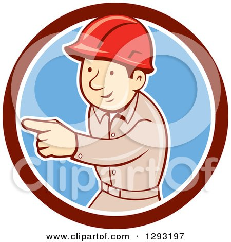 Clipart of a Retro Cartoon White Male Construction Worker Pointing in a Maroon White and Blue Circle - Royalty Free Vector Illustration by patrimonio
