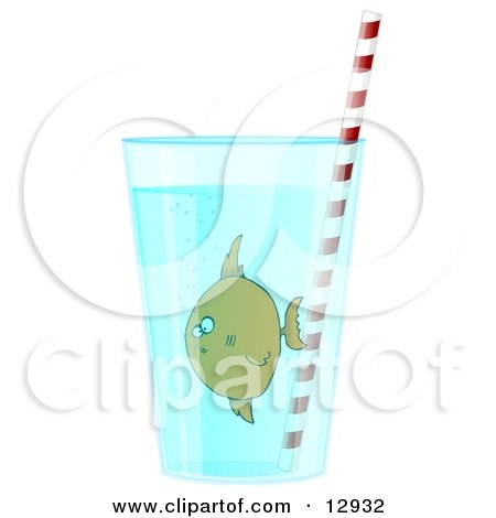 Confused Tropical Fish in a Glass of Water With a Straw Clipart Illustration by djart