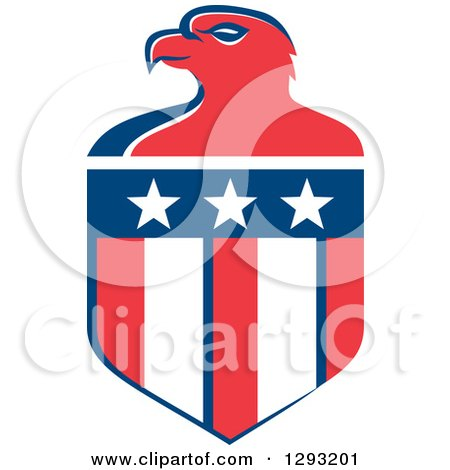 Clipart of a Retro Red White and Blue Bald Eagle Head and American Flag Crest - Royalty Free Vector Illustration by patrimonio
