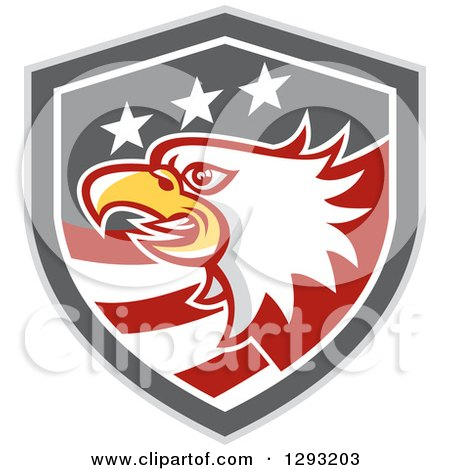 Clipart of a Retro Tough Bald Eagle Head in a Gray Red and White American Flag Shield - Royalty Free Vector Illustration by patrimonio