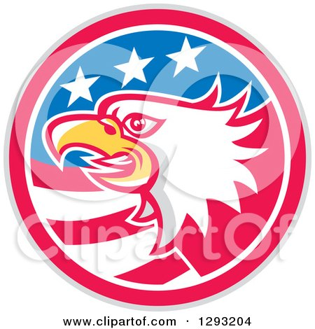 Clipart of a Retro Tough Bald Eagle Head in a Gray Red White and Blue American Flag Circle - Royalty Free Vector Illustration by patrimonio
