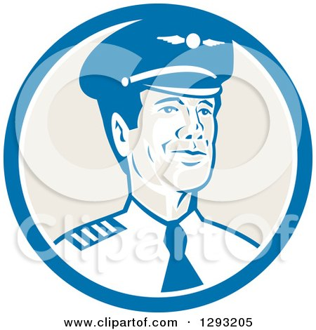 Clipart of a Retro Male Commercial Aircraft Pilot in a Blue White and Tan Circle - Royalty Free Vector Illustration by patrimonio