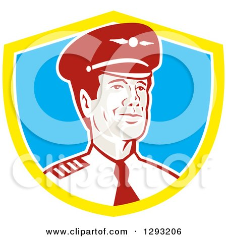 Clipart of a Retro Male Commercial Aircraft Pilot in a Yellow White and Blue Shield - Royalty Free Vector Illustration by patrimonio