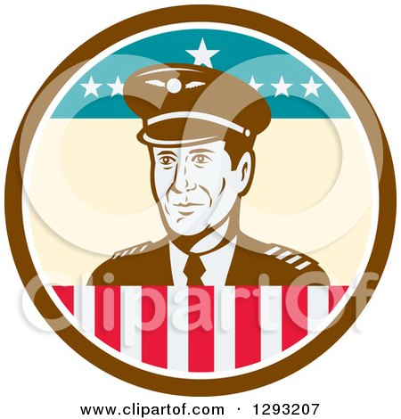 Clipart of a Retro Male Commercial Aircraft Pilot in a Brown White and American Themed Circle - Royalty Free Vector Illustration by patrimonio