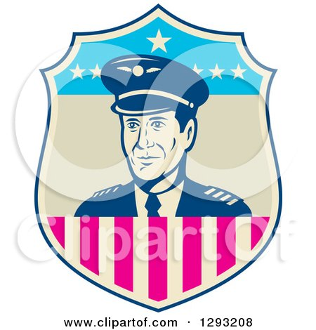 Clipart of a Retro Male Commercial Aircraft Pilot in an American Themed Shield - Royalty Free Vector Illustration by patrimonio
