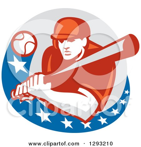 Clipart of a Retro Ball Flying at a Male Baseball Player Batting Inside an American Circle - Royalty Free Vector Illustration by patrimonio