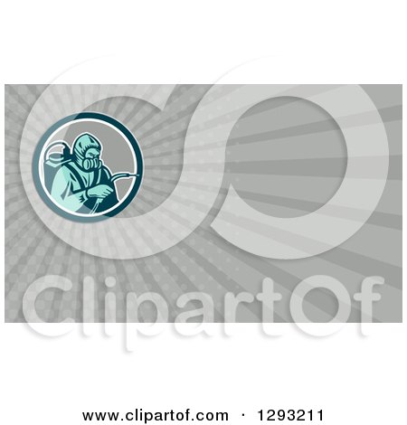 Clipart of a Retro Woodcut Pest Exterminator and Gray Rays Background or Business Card Design - Royalty Free Illustration by patrimonio