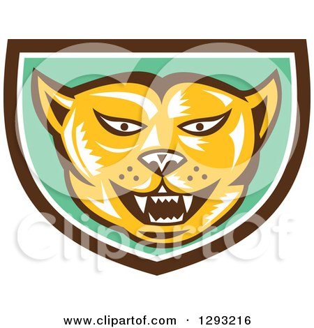 Clipart of a Retro Woodcut Cougar Puma Mountain Lion Head in a Brown White and Green Shield - Royalty Free Vector Illustration by patrimonio