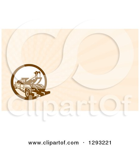 Clipart of a Retro Tow Truck and Beige Rays Background or Business Card Design - Royalty Free Illustration by patrimonio