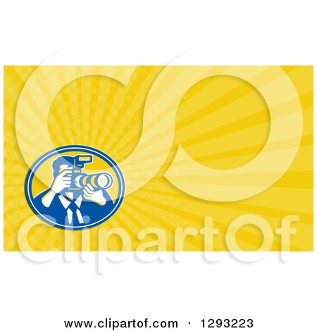 Clipart of a Retro Photographer and Yellow Rays Background or Business Card Design - Royalty Free Illustration by patrimonio