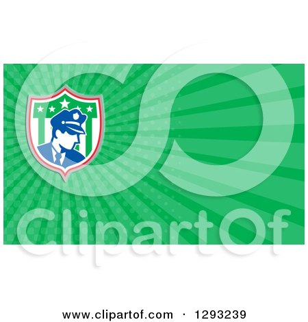 Clipart of a Retro Police Man in an American Shield and Green Rays Background or Business Card Design - Royalty Free Illustration by patrimonio