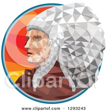 Clipart of a Low Polygon Geometric Native American Chief in a Circle - Royalty Free Vector Illustration by patrimonio