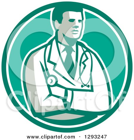 Clipart of a Retro Male Doctor or Veterinarian with Folded Arms in a Green and White Circle - Royalty Free Vector Illustration by patrimonio