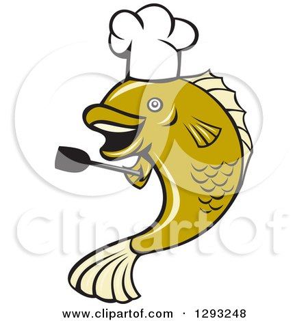 Clipart of a Cartoon Chef Largemouth Bass Fish Holding a Spatula - Royalty Free Vector Illustration by patrimonio