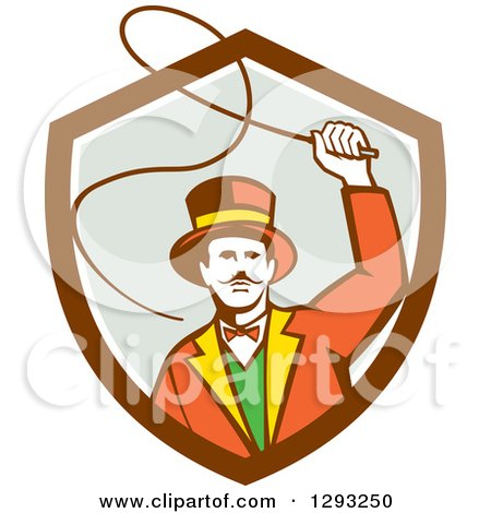 Clipart of a Retro Circus Ringmaster Using a Bull Whip in a Brown White and Gray Shield - Royalty Free Vector Illustration by patrimonio