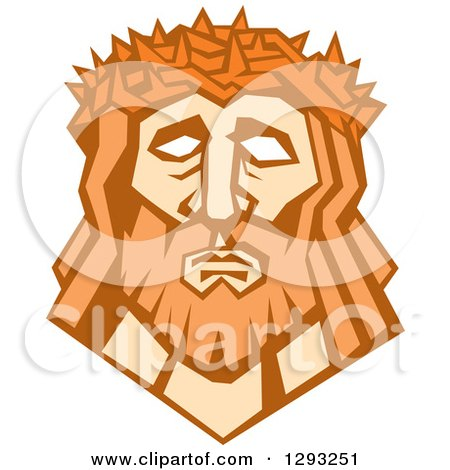 Clipart of a Retro Face of Jesus Christ with a Crown of Thorns - Royalty Free Vector Illustration by patrimonio