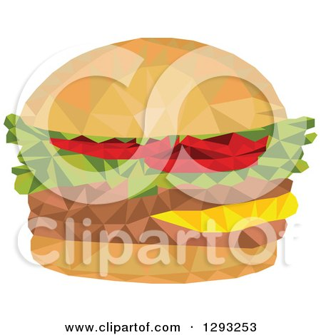 Clipart of a Low Polygon Geometric Hamburger - Royalty Free Vector Illustration by patrimonio