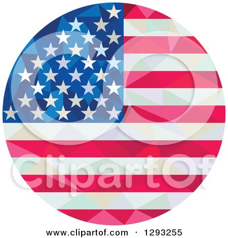 Clipart of a Low Polygon Geometric American Flag Circle - Royalty Free Vector Illustration by patrimonio