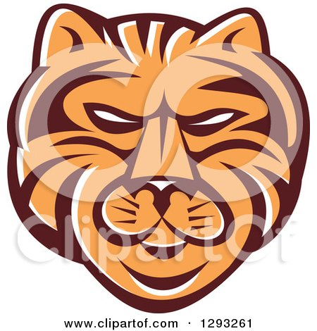 Clipart of a Retro Tiger Head in Brown White and Orange - Royalty Free Vector Illustration by patrimonio