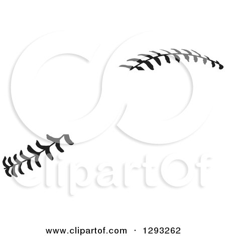 Sports Clipart of Horizontal Black and White Baseball Stitching with a Gap for Text - Royalty Free Vector Illustration by Johnny Sajem