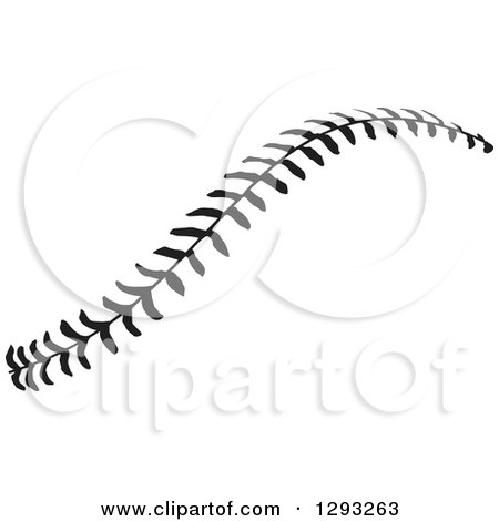Sports Clipart of Horizontal Black and White Baseball Stitching - Royalty Free Vector Illustration by Johnny Sajem
