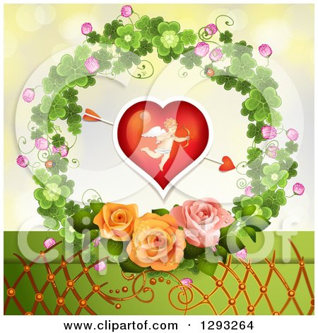 Clipart of a Valentines Day Background of an Arrow Through a Cupid Heart with Lattice and Roses in a Clover Wreath - Royalty Free Vector Illustration by merlinul