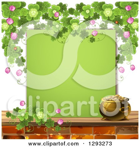 Clipart of a St Patricks Day Background with a Pot of Gold, Shamrocks, Ladybugs and a Blank Green Sign - Royalty Free Vector Illustration by merlinul